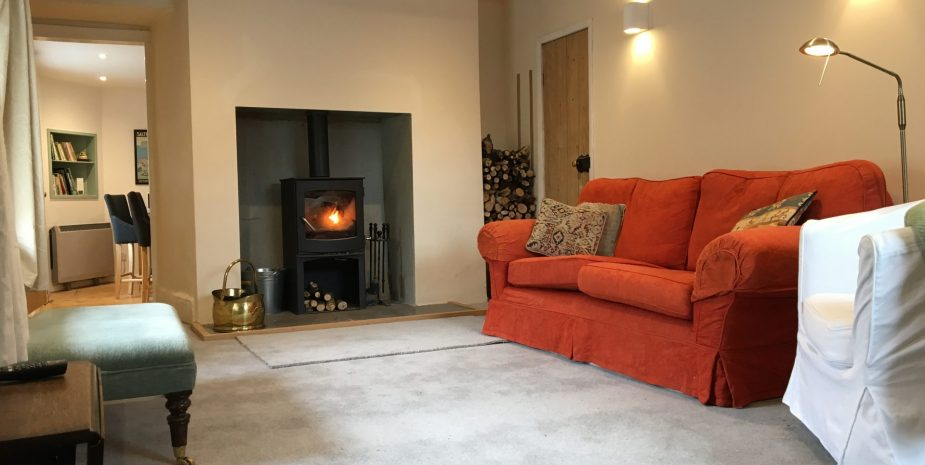Living room with cosy logburner