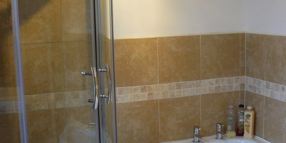 Bathroom with large shower enclosure